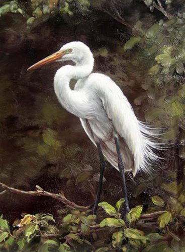 ZOPT362 fancy white crane landscape hand painted oil painting wall art canvas