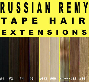 RUSSIAN-REMY-TAPE-WEFT-DOUBLE-DRAWN-HUMAN-HAIR-EXTENSIONS-Brown-Blonde-Black