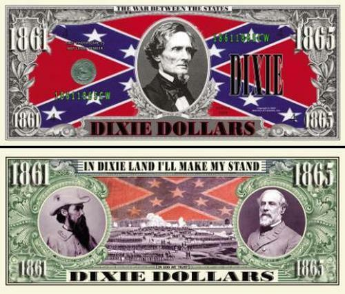 FREE SLEEVE Dixie Land Historical Civil War Dixie Dollar Fun Money Novelty Note
