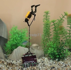 Frogman-Diver-Treasure-Chest-Shaped-Action-Air-Ornament-Fish-Tank-Aquarium-Decor