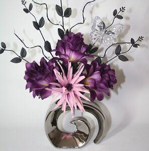 Artificial Silk Flower Arrangement Purple Dusky Pink Flowers