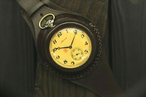 Vintage Molnija 3602 Ship Pocket Watch + WWI Style New Leather WRISTBAND WWII