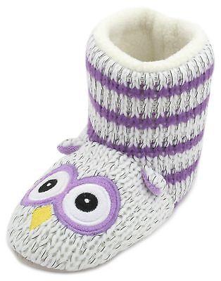 Slumberzzz Kids Knitted Stripe Owl Bootie Slippers