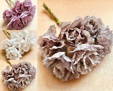 Beautiful Hessian Flowers With Wire Stem Rustic 30mm Card Making Craft 3 Colours