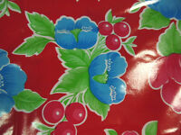 """Red with Pink & Blue Poppies Floral """"oilcloth"""" from Mexico by the 1/2 Yard"""