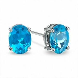 Sterling-Silver-Blue-Topaz-6x4mm-Oval-Cut-Solitaire-Stud-Earrings