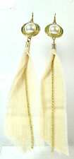 LADIES CHUNKY LONG LAYERED GOLD PEARL EARRINGS EVENING PARTY WEAR (ST34)