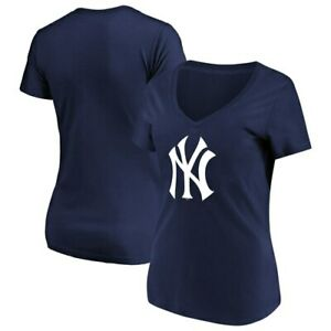 Women-039-s-Majestic-Navy-New-York-Yankees-Top-Ranking-V-Neck-T-Shirt