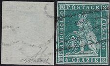 1852 Toscana, n° 6c verde azzurro usato Cert. Bolaffi Sigla AD