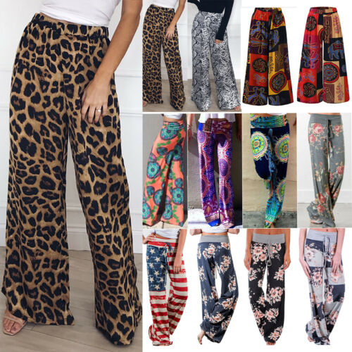 Womens Boho Wide Leg Palazzo Pants Fashion Summer Holiday Beach Casual Trousers
