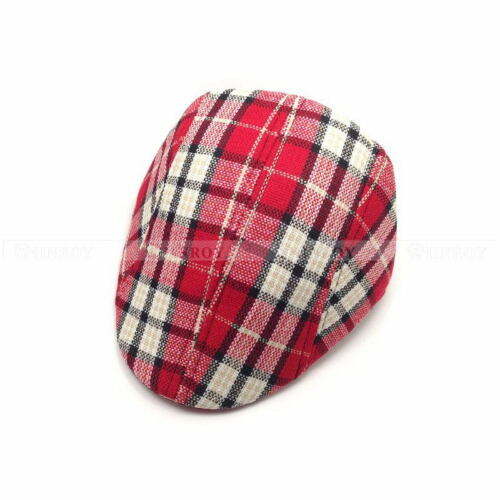 Boys Kids Child Beret Flat Cap Houndstooth Plaid Newsboy Hat Baby Hat