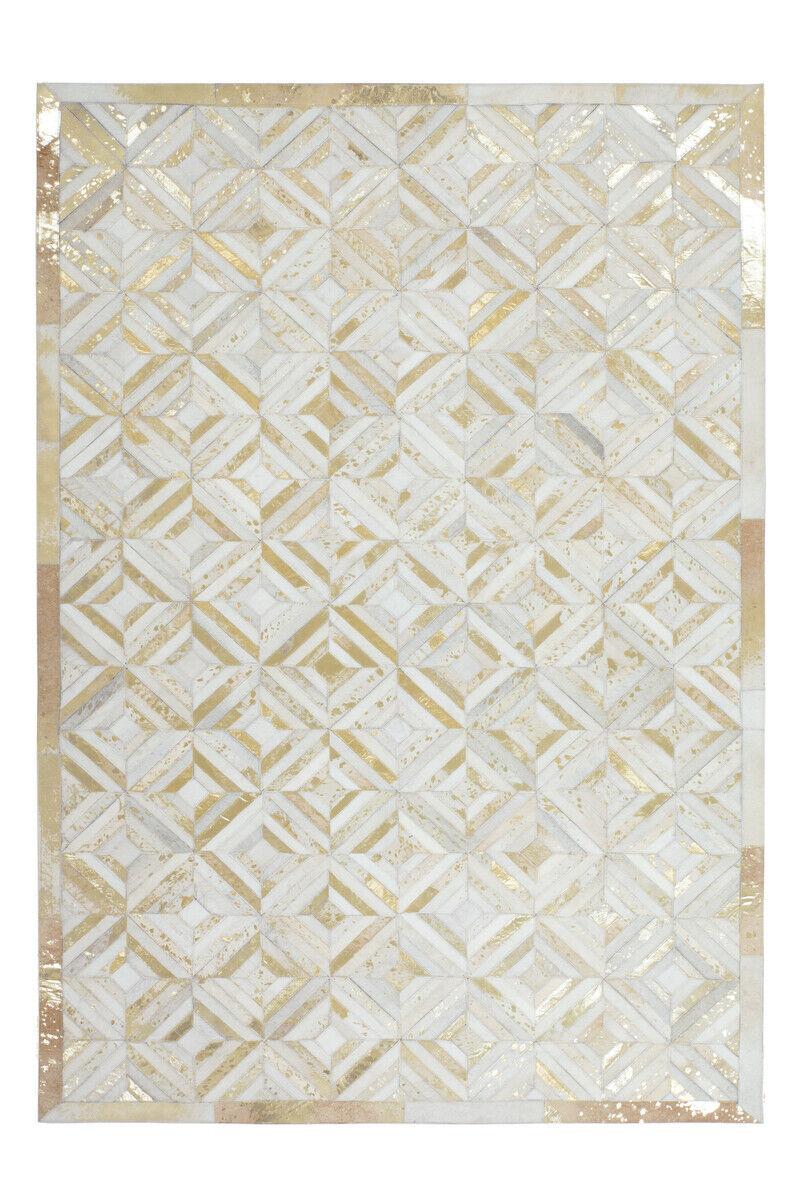 Tapis CUIR Flachflor Modern tapis fait main Ivoire or 120x170cm
