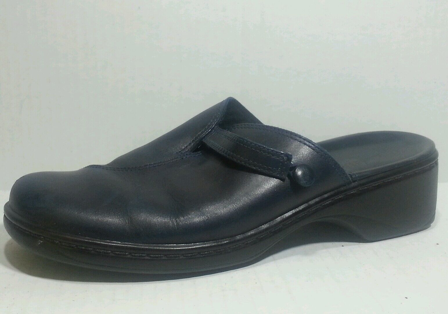 Clarks bluee Navy Mule Leather Wmn 8 M Casual Career Clog Work shoes 71417 Slip On