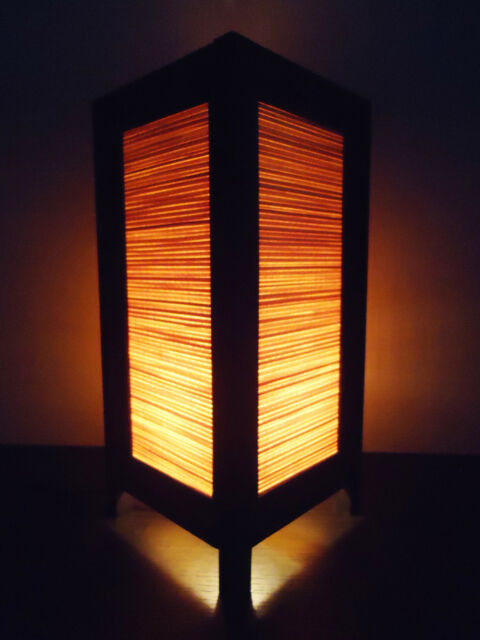 Asian Oriental Design Cream Bamboo Bedside Floor or Table Lamp Lighthing Wood