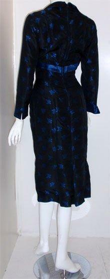 CEIL CHAPMAN 1960s Black and Blue Silk Cocktail D… - image 3