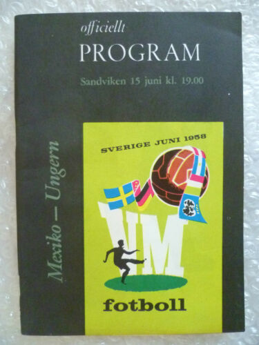 1958 World Cup Finals Programme Mexico v Hungary, 15 June Org, Exc