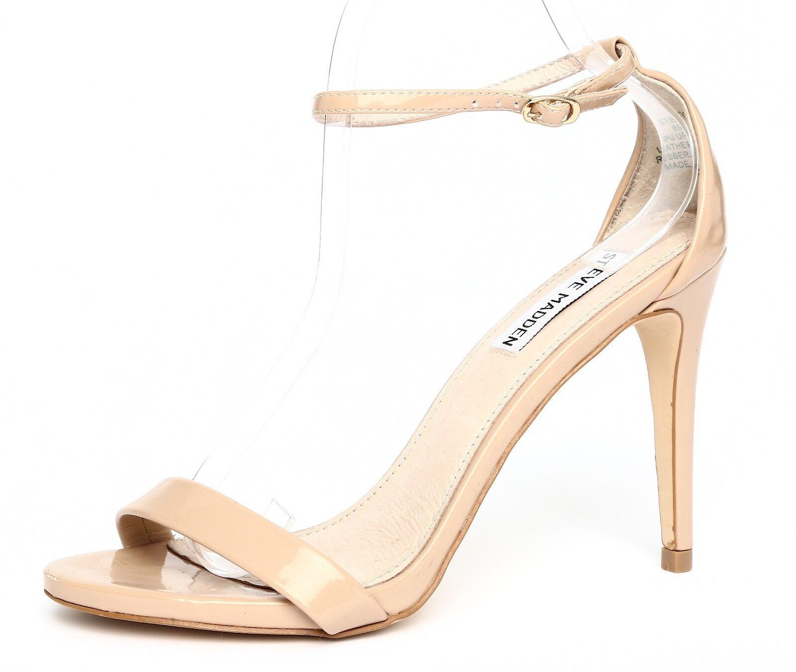 Steve Madden Stecy Patent Pelle Nude Ankle Strap Sandal Heels Sz 8M 4121