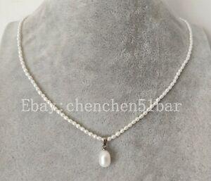 kultivierte-winzige-2-5-3-5-mm-weisse-Suesswasser-Perlenkette-17-Zoll-amp-Anhaenger