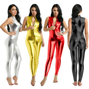 8f968753ec7e New Women PVC Wet look Leather Bodysuit Jumpsuit Catsuit Zipper ...
