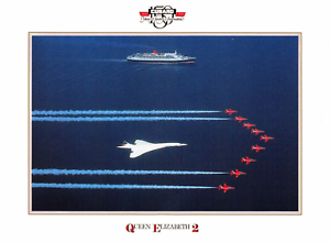 NEW-Postcard-150-Years-of-Luxury-Concorde-Cunard-QE2-Red-Arrows-Aircraft-1990