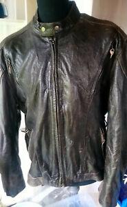 50 Xxl Dark Vintage Real 60 Zip Uk Front Style Brown Eu Biker Jacket Leather vUpUxOw