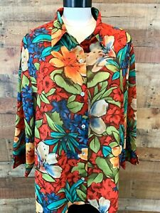 ALFRED-DUNNER-Women-18-1X-Plus-Orange-Red-Tan-Floral-3-4-Sleeve-Blouse-Top-NWOT