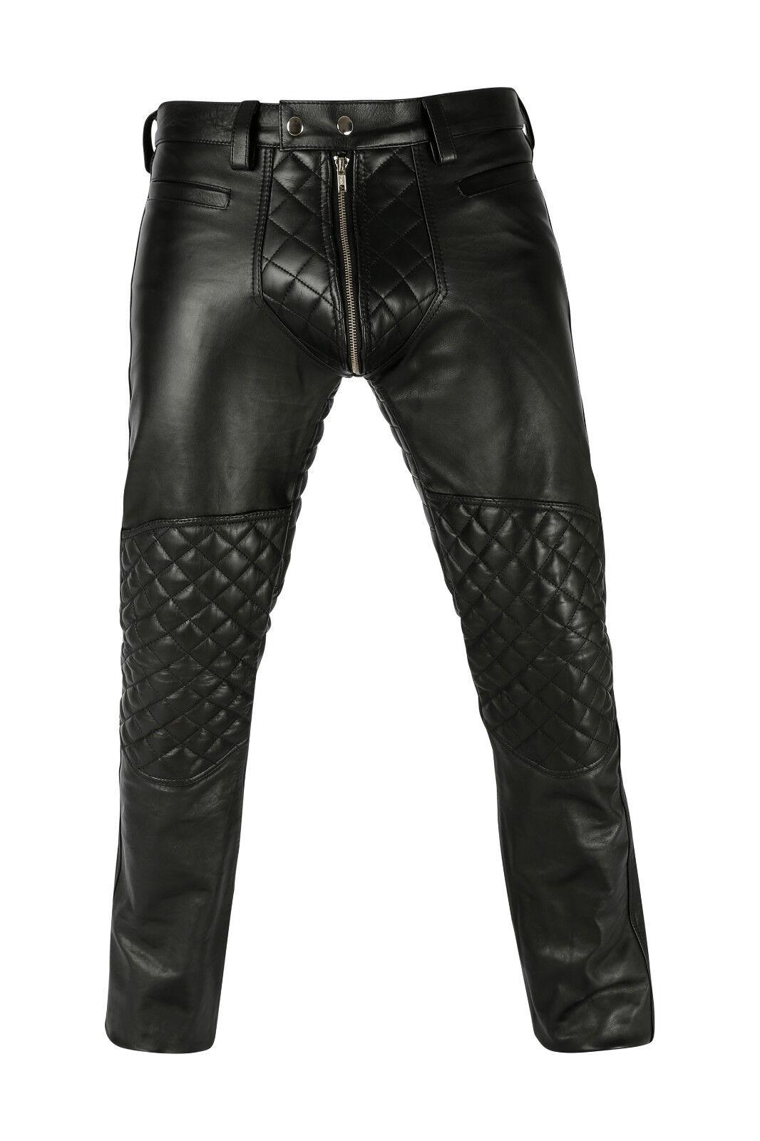 AW-7800 Soft Lederhose gepolstert 2 wege RV,Leder Hose Padded,leather Trousers