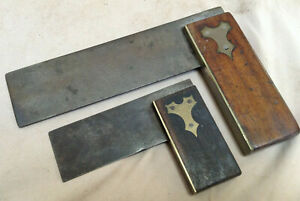 Vintage-Try-Square-2-Piece-lot-3-034-Ebony-amp-6-034-Rosewood-Handle-Brass-Bound-Wood