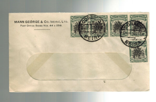 1931 Beira Mozambique Commercial Cover To Usa Window Envelope # 4