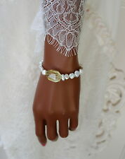 Keshi Perlen Lemonquarz Stretch Armband Keshi Pearl Lemon quartz Bracelet
