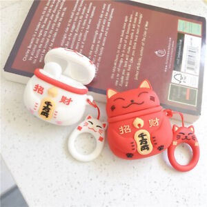 Lucky-Cat-Etui-Convient-pour-Airpods-Silicone-Protection-Housse-Sac-Boite-Chaud