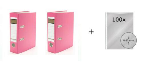 Farbe DIN A5 100 Prospekthüllen 75mm 2x Ordner pink