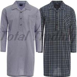 Mens-Traditional-Nightshirt-Summer-night-shirt-Stripe-Check-Long-Sleeve-T-MN40
