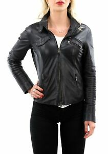 Giacca-in-di-Pelle-Donna-Womens-Leather-Jacket-Femme-Blouson-en-Cuir-TLe1a