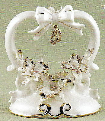 50th Golden Anniversary Porcelain with Gold Accents Gift Cake Cake Top Topper