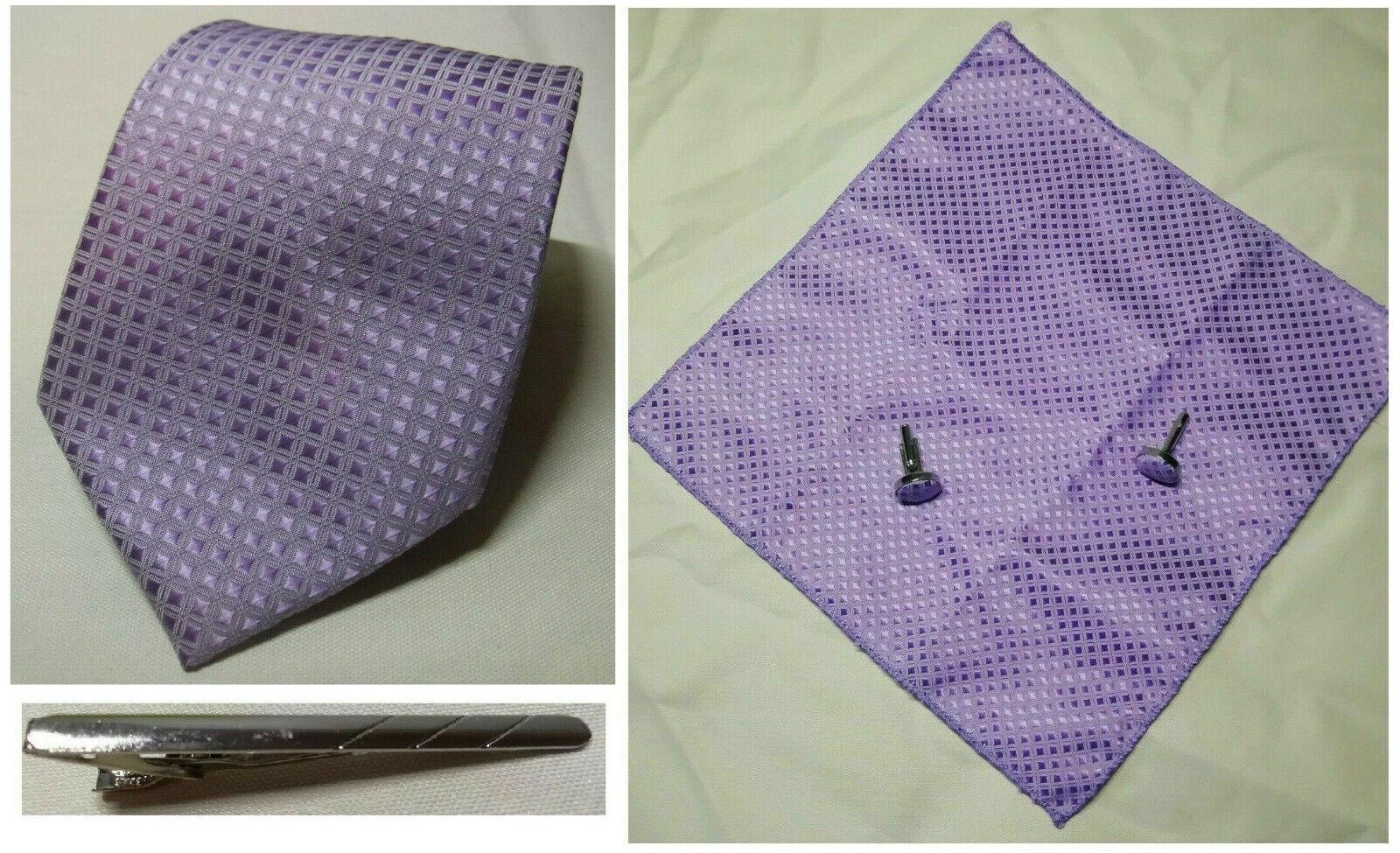 Lilac Purple Thai Silk Tie Pocket Square Cufflink Tie Clip Set Wedding Formal