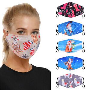Weihnachten Gesichtsmaske Santa Drucken Cosplay Winddichte Waschbare Maske