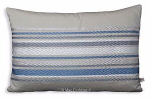 De-Lujo-Disenador-Gris-Azul-Blanco-bordado-cubierta-Cojin-almohada-de-tela-de-la-raya
