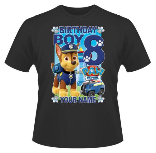 Paw Patrol Birthday Boy Chase Personalised Boys Girls T-Shirt Age 8 Gift//Present