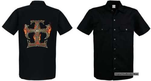 da Celtic Flaming Camicia Einemtattoo operaio gothikmotiv Cross Mit Modell qdZvdS