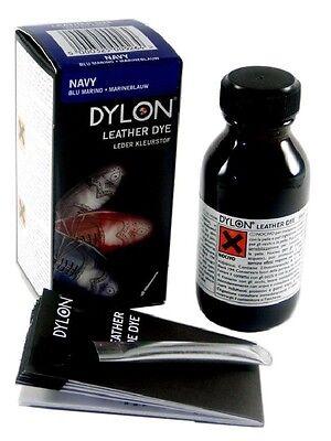 Dylon Cuero Zapato Bota Dye 50ml Botella & Aplicador Negro marrón oscuro azul marino