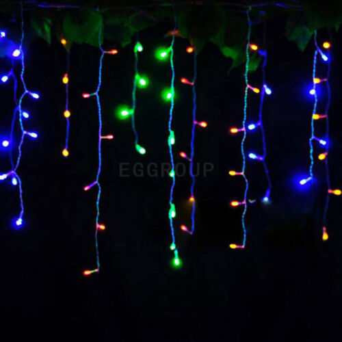 1~10X Connectable 96 LED Fairy String Hanging Icicle Curtain Light Outdoor Xmas