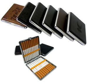 PU-Leather-Metal-Regular-Cigarette-Case-Tin-Holder-Square-Holds-Up-To-20pcs