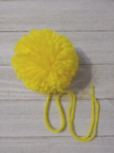 9ca75495d3 Bright yellow large 3 inch 4 ply yarn pom pom for hats crochet knit ...
