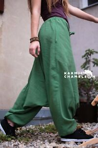 Hemp Gypsy Plain Comfy Ladies Green Pants Loose Hippie Yoga Boho Harem Aladdin U7wx1qgOUT