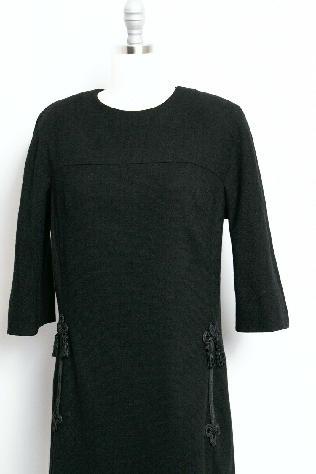 HARVEY BERIN 1960s Dress Black Wool Large - image 4