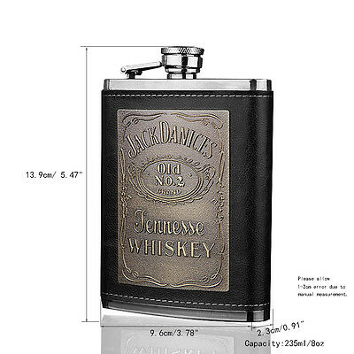 8oz Whiskey Hip Flask Stainless Steel Bar Flask Gift Box Funnel Leather Wrapped