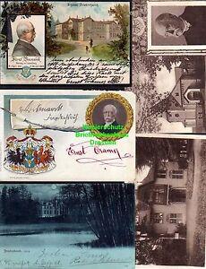 114912-5-AK-Friedrichsruh-Schloss-1899-Bismarck-Wappen-Gruftkapelle-Museum-Aumueh
