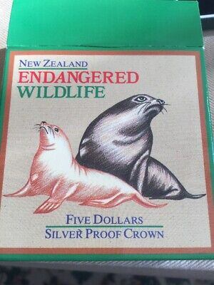 South Pacific Tireless New Zealand 1993 Hooker Sea Lions 5 Dollars Silver Coin,proof With Orig Box Coa