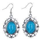 Hollow Out Silver Plated Oval Blue Turquoise Women Hook Earrings Gems Jewelry